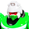 Close Up Head of Green Power Warrior Super Robot, Moves Head
