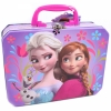 Disney Frozen Tin Purple Lunch Box Princesses Anna and Elsa and Olaf the Snowman Lunch Set Collectible
