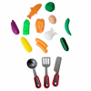 Kitchen Pan Play Set With Plastic Food, Pan, and Utensil Pieces KidPlay