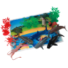 Marine Ocean Animal Toys Bucket and Coral Reef Landscape Play Mat Learning and Educational 20 Piece Set