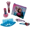 Includes Frozen Blue Tiara, Anna and Elsa Beauty Bag, Cute Crowned Grape Flavored Lip Gloss, Sparkly Nail Polish, and 2 Frozen Heart Hair Snap Clips with Featured Characters