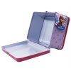 Pink Anna, Elsa, and Olaf the Snowman Snap Shut Tin Lunch Box with Snowflakes