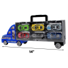 Toy Truck Auto Hauler with 6 Colored Race Cars