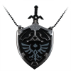 The Legend of Zelda Hyrule Shield Necklace in Black and Silver with Removable Mini Sword