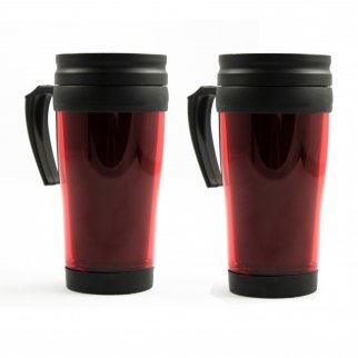 2pk Travel Mug Car Coffee Cup 16oz Beverage Holders 2 Red Mugs