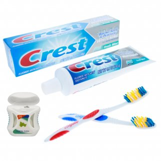 4pc Dental Care Essentials Pack with Floss Toothpaste and Toothebrushes