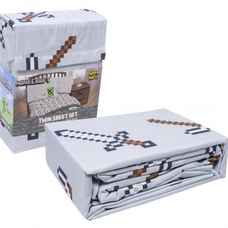 Mojang Minecraft Building Adventure Gaming Grey Bedding Twin Sheets Set for Boys, 3pc