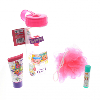 Shopkins Girls Bath Accessories Set in Water Bottle Loofah Shower Gel Lip Balm