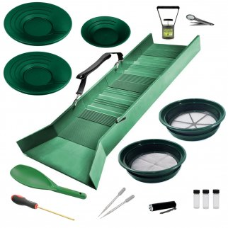 ASR Outdoor Deluxe Sluice Box Gold Prospecting Kit Classifier Pans Snifter 16pc