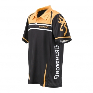 Browning Team Browning Shooting Polo Shirt Gold and Black Size Medium