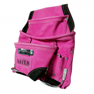 10 Pocket Tool Belt Pouch Heavy Duty Suede Leather Fits Hammer And Nails - Pink