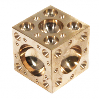 "Dapping Block Polished Brass 1.5"" Cube with 61 Domes"