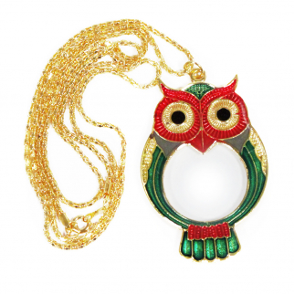 Pocket Owl Pendant Magnifying Glass Eye Loupe Necklace