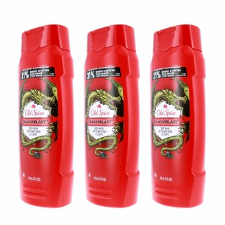 Old Spice Dragonblast Scent Mens Body Wash Shower Gel 3pk