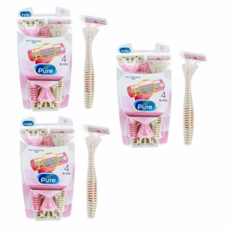 All Pure Womens 18pc Razor Blade Set 4 Swivel Blades