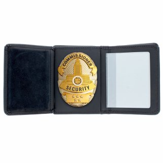 ASR Federal Law Enforcement RFID Leather Hidden Badge Folding Wallet - Oval