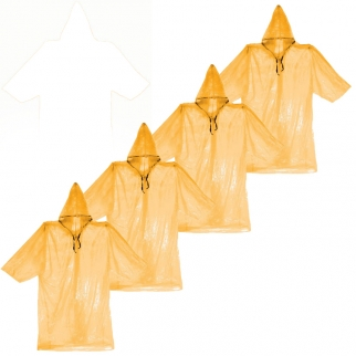 Rain Gear Raincoat Lightweight Orange Poncho Emergency Weather in 4 Pack for Heavy Rain and Outdoor Activities