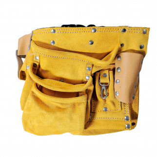 Deluxe Tool Belt Suede Leather 12 Pocket Heavy Duty Carpenters Storage Pouch