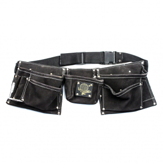 9 Pocket Tool Belt Heavy Duty Suede Leather Fits Hammer And Nails - Black