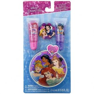 Disney Princess Flavored Glitter Lip Gloss With Zipper Tin