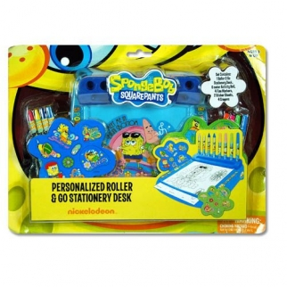 Nickelodeon SpongeBob SquarePants Personalized Roller & Go Portable Travel Stationery Activity Desk