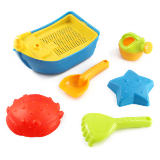 7pc Beach Time Children's Boat Sand Play Toy Set w/ Sifter Shovel Rake & Molds