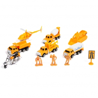 11pc Construction Worker Pick Up Dump Truck Bulldozer And Free Wheels Toy Car Set