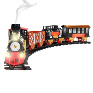 Christmas Train Toy 20 Piece Set - Lights, Sound, and Real Smoke