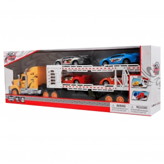 Lights and Sounds Yellow Semi Truck Carrier with 4 Racing Cars