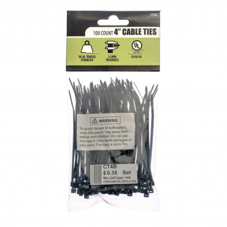"100 Count 4"" Cable Wire Hose Zip Ties"