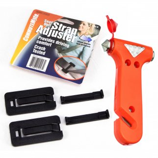 Seat Belt Strap Adjuster Belt Clip and Emergency Hammer Auto Safety Set