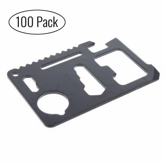 11 in 1 Pocket Survival Black Credit Card Multi Tool with Carrying Case - 100 Pack