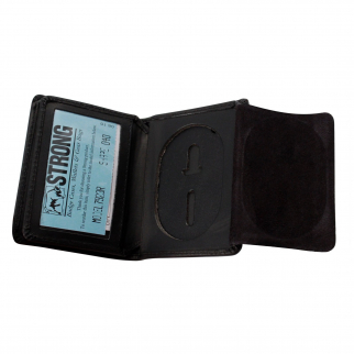 "Radio Frequency ID Protection Badge Wallet Fits Star Badges up to 2 3/4"" Oval Badge Holder View"