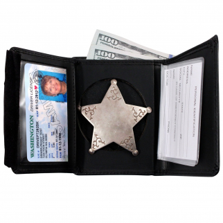 ASR Federal Law Enforcement Leather Hidden Badge RFID Wallet - Round