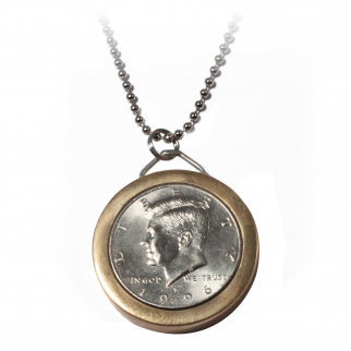 Half Dollar Pendant Hidden Compartment Safe Neck Chain