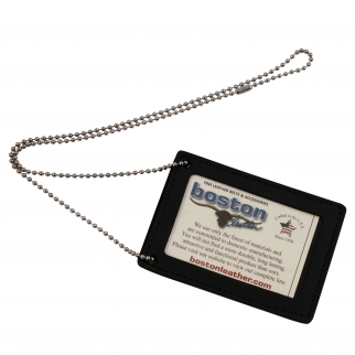 ASR Federal Leather Heavy Duty Law Enforcement Badge and ID Holder Neck Chain