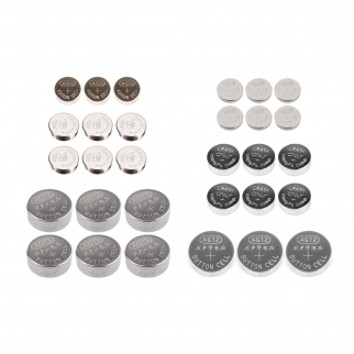 30pc Universal Assorted Button Cell Batteries for Small Electronics
