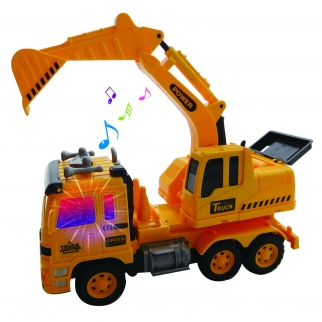 Remote Radio Control Excavator RC Builder Construction Truck Backhoe With Lights and Sounds and Road Signs Retail1 View