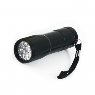 8 LED Ultra Violet Non Rolling Flashlight Titanium Body And Nylon Carrying Case