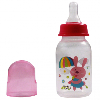 KidPlay 5oz Baby Bottle - Pink Bunny Nipple Sippy Cup and Lid