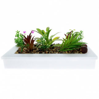 Home Essentials Decor Artificial Plant Succulent Garden In Planter - White