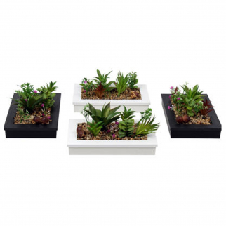 2pk Artificial Plant Garden Planter - Black and White