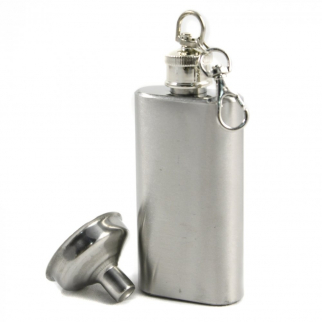 Mini Key Chain Flask Stainless Steel Screw On Cap with Funnel Top 2 oz for Portable Drinking and Alcoholic Beverage Storage