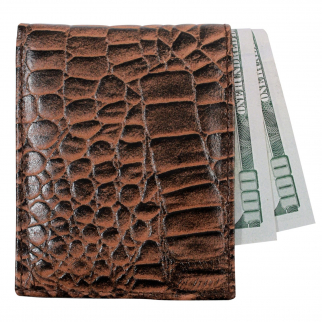 Brandon Dallas Genuine Cowhide Bifold Leather Wallet Brown - Crocodile