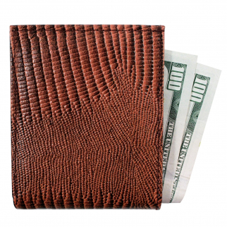 Brandon Dallas Genuine Handcrafted Leather Wallet - Brown Lizard