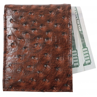 Brandon Dallas Genuine Handcrafted Leather Wallet - Brown Ostrich
