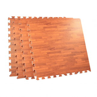 4 Piece Interlocking Square Cushioned Floor Mat Set with Cherry Wood Grain Finish