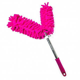 Universal Dual Head Flex Neck Telescopic Feather Duster Extendable 46.5in Pink