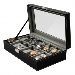 Home Essentials Deluxe 12 Watch Glass Top Locking Storage Case