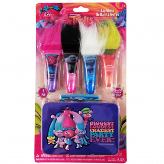 Dreamworks Trolls 4pk Girls Flavored Lip Gloss Tubes With Classic Troll Hair and Mini Carry Tin
